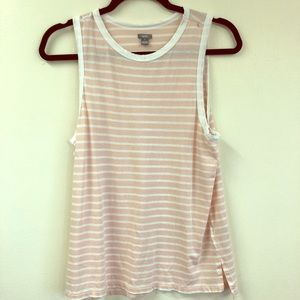 Aerie Pink and White Tank Top with Stripes Medium